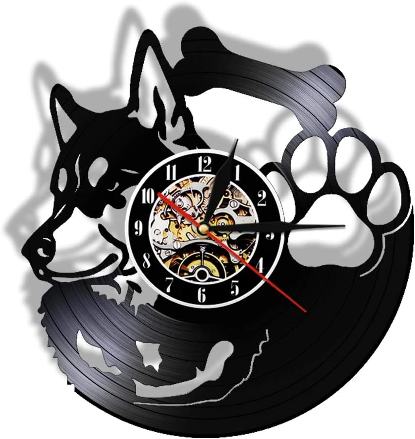 LKJHGU Reloj de Pared con Disco de Vinilo de Husky Siberiano, silencioso, sin Hacer tictac, Pata de Perro, Tienda de Mascotas, decoración de Arte Vintage, Raza de Perro, Husky, dueño de Perro, Regalo