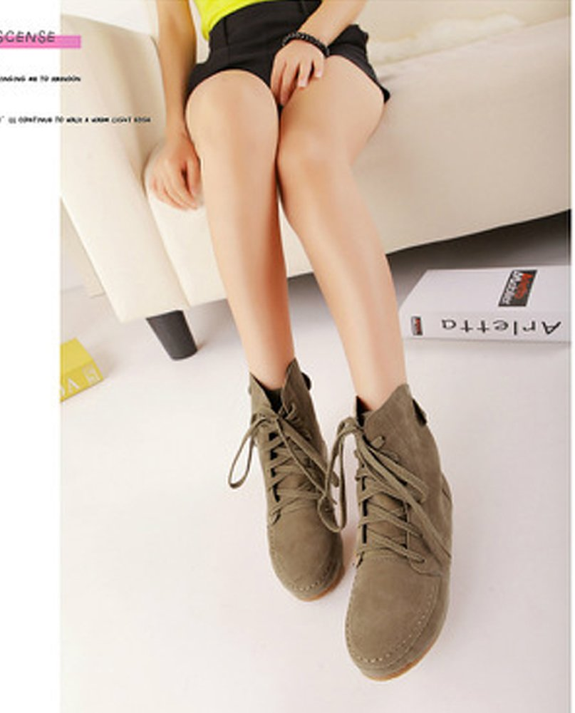 Maybest Women Autumn Casual Fashion Solid Color Flat Shoes Lace Up Ancke Round Toe Flat Leather Martin Boots Khaki Plaid 9 B (M) US