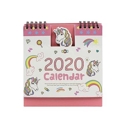 2019-2020 - Calendario de escritorio con diseño de unicornio ...