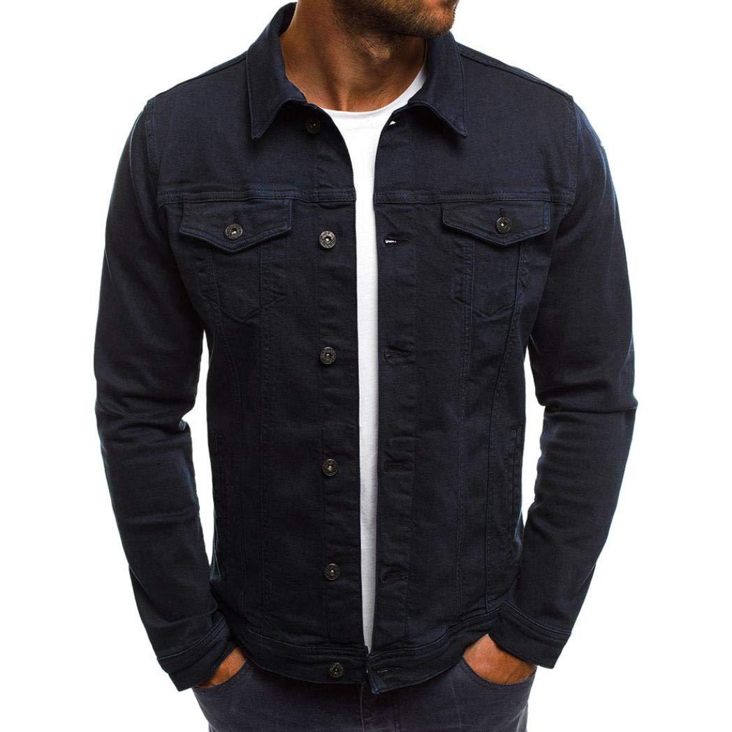 GoodLock Men's Fashion Casual Denim Jacket Autumn Winter Button Solid Vintage Tops Blouse Coat (Navy, XXX-Large)