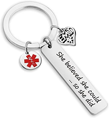 Lywjyb Birdgot EMT Gift EMT Graduation Gifts EMT She Believed She Could So She Did Keychain Emergency Medical Technician Gift Paramedic Gifts