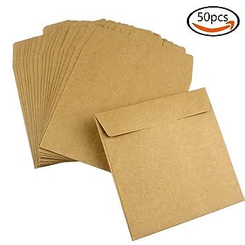 JPSOR 50 bolsas de papel kraft de CD sobres de DVD bolsas de papel