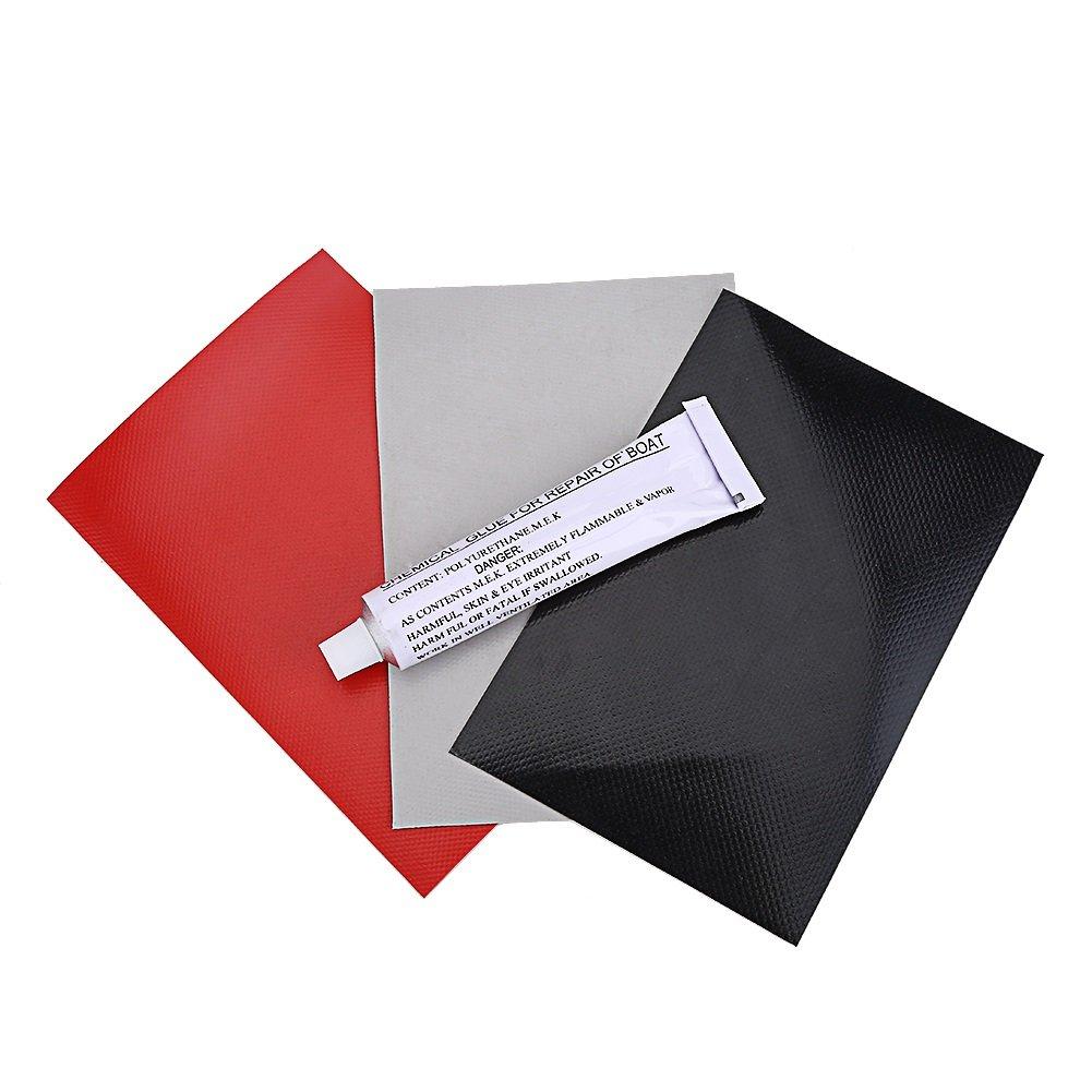 3Pcs PVC Patch + Kit di Riparazione della Patch di PVC e Colla per Barca Gonfiabile Canoa Giocattolo Kayak Canotto Gonfiabile (15 * 10 cm) VGEBY