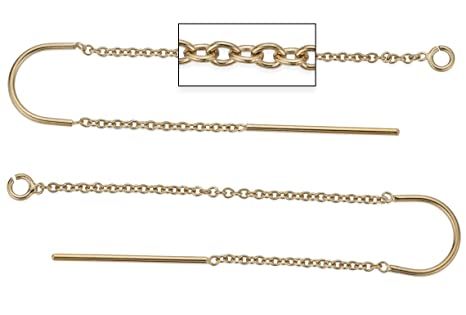 8d14afbf1bf70 2 Pairs, 4 Pieces 14K Gold Filled U-Threader Earrings, 1.5 inch Cable Chain  on one side, 0.5 inch chain on other side