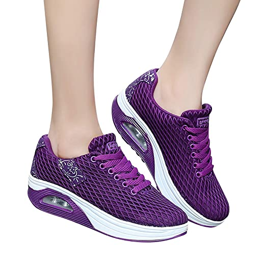 Zapatillas Running Hombre Mujer,JiaMeng Malla Exterior Zapatillas Deportivas Informales Zapatillas con amortiguación de Aire con Suela Gruesa Zapatillas de ...