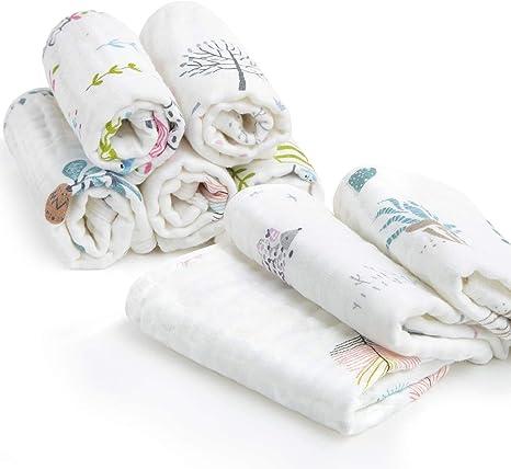 Muselina bebe algodon, Toallas suaves de muselina para bebés, varias funciones (8 paquete): Amazon.es: Bebé