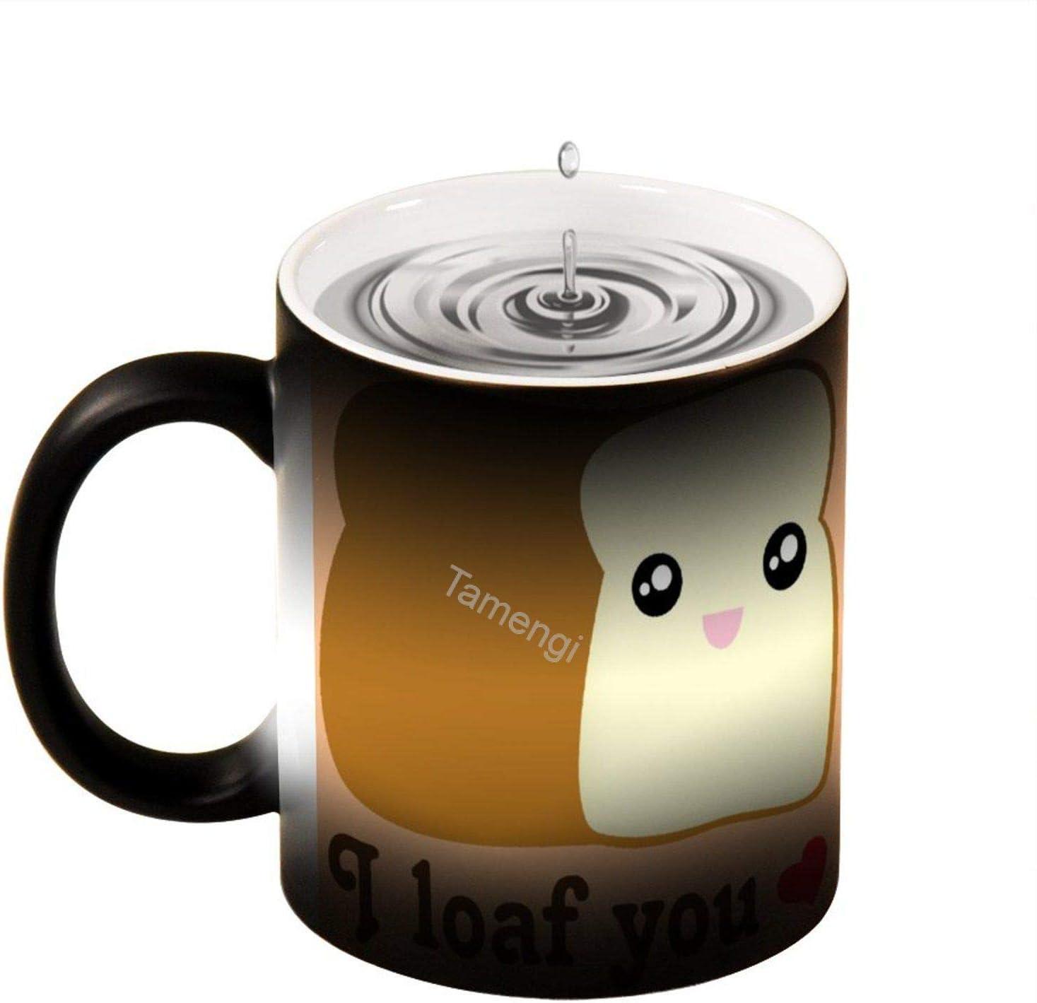 I loaf you kawaii bread funny food pun Heat Changing Ceramic Coffee Mug, 11 oz Heat Sensitive Color Changing Coffee Mug Cup