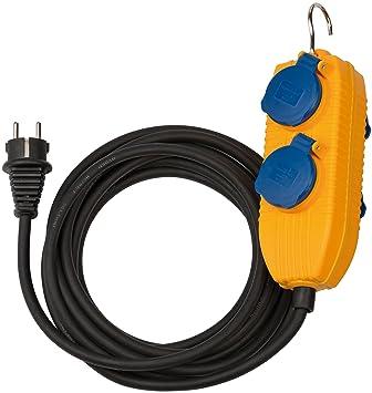 C/âble 10M H07RN-F 3G1, 5 avec Crochet, IP44, Noir /& Jaune Brennenstuhl Rallonge Electrique Powerblock 4 Prises /à Clapets fabrication Francaise