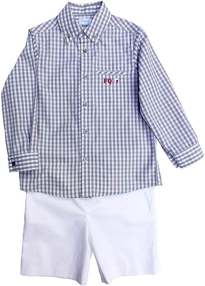 FOQUE - Camisa para niño de Cuadros Grises y Blancos. Manga Larga. Logotipo Bordado en Rojo. Cuello con Botones. 100% algodón (3 años): Amazon.es: Ropa y accesorios