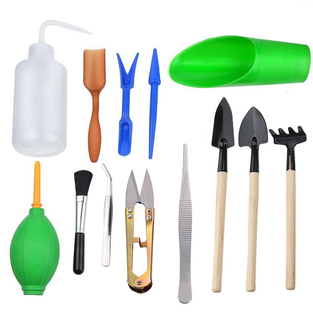 Thee-home 13 Pieces Mini Garden Hand Transplanting Succulent Tools Miniature Planting, Set for Indoor Fairy Gard