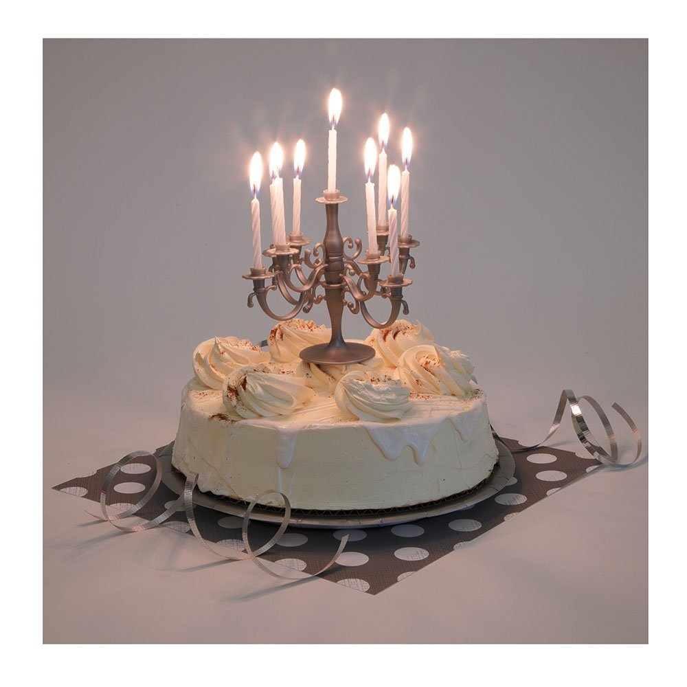 Amazoncom Silver Candelabra Cake Topper Birthday Candle Set