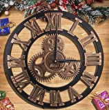 16' Wall Clock - Retro Vintage Handmade 3D Decorative Gear Wooden Kitchen Mechanism Clock With Movements for Housewarming Round Wall Decorative Clocks by HooYL (Copper Color)