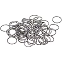 Prettyia 100 Pieces 15mm Silver Stainless Steel Keyring Keychain Split Ring Key Rings Connector Jewelry Findings for DIY Crafts