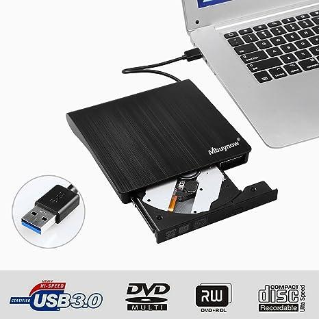 Grabadora CD/DVD Lector de CD Externa Portátil con USB 3.0, AGM Súper-Silm Lector/Escritor Externa de CD/DVD Grabadora Portátil Compatible con ...