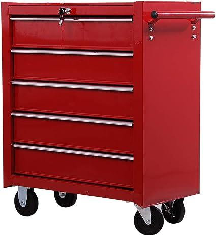 HOMCOM Carro Caja de Herramientas Taller movil con 5 cajones 4 Ruedas Chapa de Acero Rojo: Amazon.es: Bricolaje y herramientas