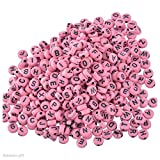 SODIAL(R) 500 Gift PCs Mixed Pink Acrylic Letter Spacers Beads 7mm Findings
