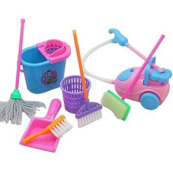 TOYMYTOY 9pcs Juguete de limpieza niños miniatura Escoba Fregona Cubo Cepillo para Muñeca barbie Limpieza de casa (Color aleatorio): Amazon.es: Juguetes y ...