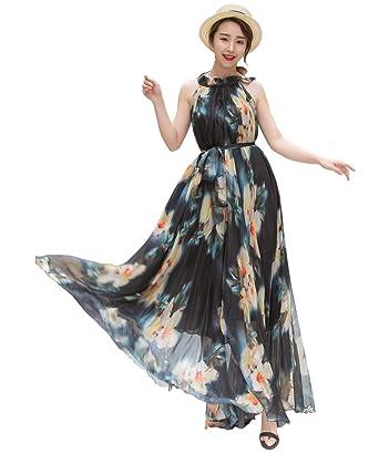 2285cb7f67 Medeshe Women's Chiffon Floral Holiday Beach Bridesmaid Maxi Dress Sundress  (UK Size 6-16