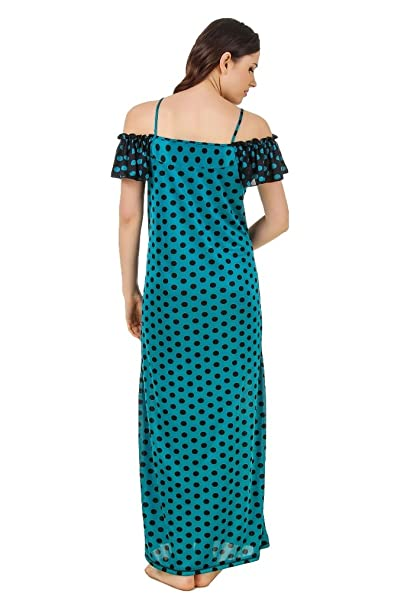 569c4871f8 Freely Blue Polka Dotted Printed Off-Shoulder Full Satin Nighty Night Dress   Amazon.in  Clothing   Accessories