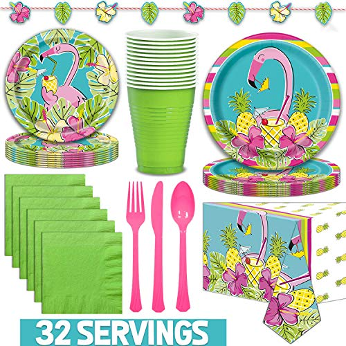 Flamingo Disposable Tableware for 32. Dinner Plates, Dessert Plates, Napkins, Large Cups, Cutlery, Tablecloth, Banner. Tropical Theme Dinnerware for Beach, Luau Birthday, Summer Weddings, Hawaiian, -