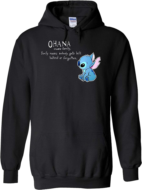 Disney Lilo and Stitch Ohana Means Family Black Sport Grey Men Women Unisex Top Sudadera con Capucha