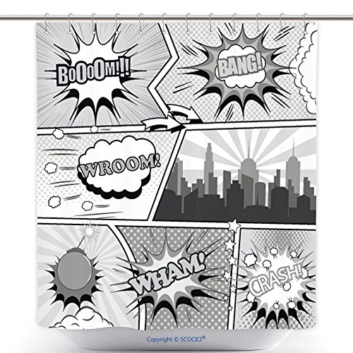 Comic Costumes Ebay (Decorative Shower Curtains Comic Book Page Background In Gray Colors Template With Speech Bubbles Arrow Stars Sound 533921506 Polyester Bathroom Shower Curtain Set With Hooks)