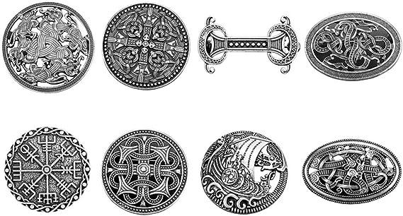 Sharplace 8 Pack Estilo étnico Vikingo Escudo Nórdico Broche Broche Hebilla Broche Ropa Sujetador Capa Pernos para Mujeres Hombres: Amazon.es: Juguetes y juegos