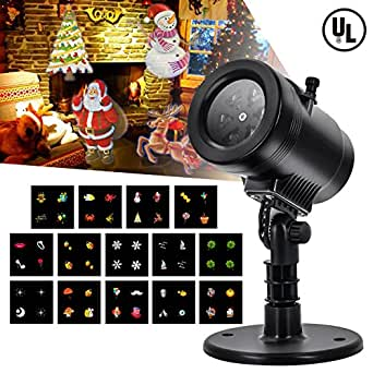 LED Projector Light Christmas- Tunnkit Upgraded 14 Switchable Patterns/Slides Decorative Light for Halloween Thanksgiving Holiday,4 Speeds,Auto-Timer,Thermal Module,IP65 Waterproof