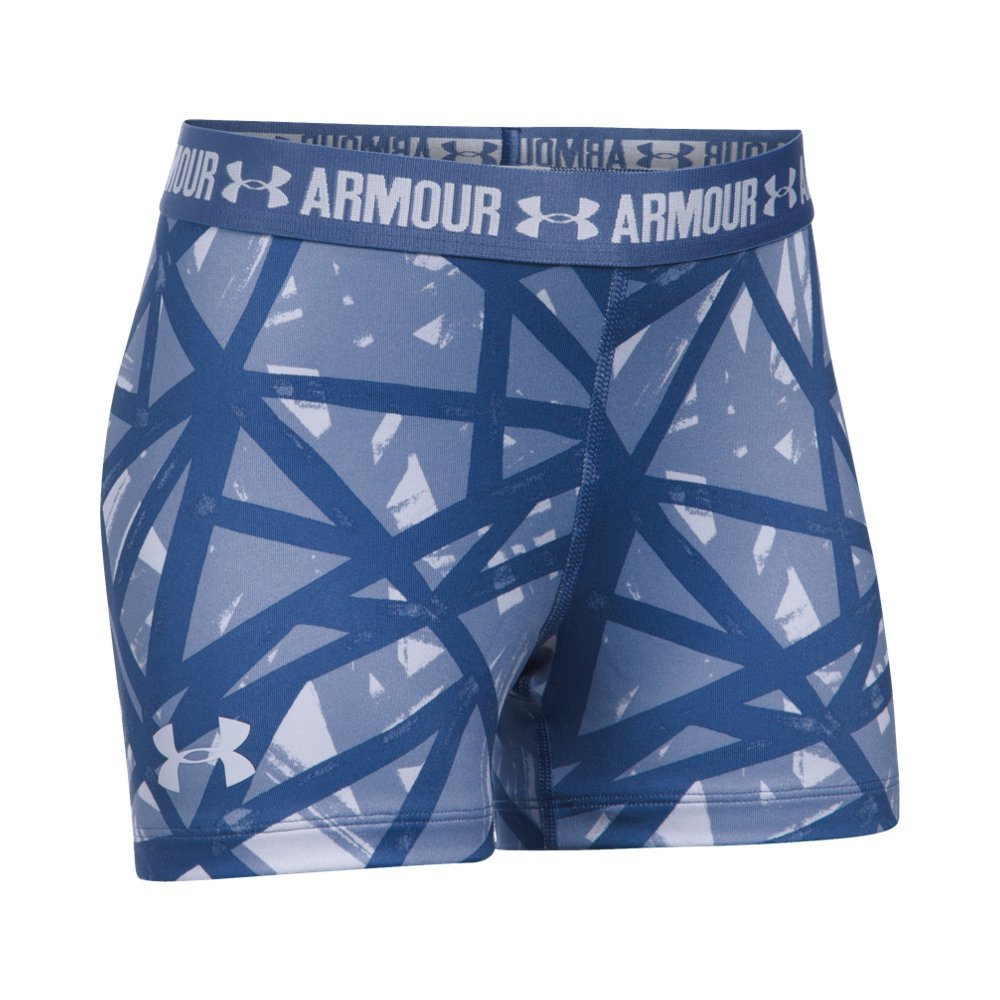 Under Armour Girls' HeatGear Armour Printed 3'' Shorty,Lavender Ice /Lavender Ice, Youth X-Small by Under Armour