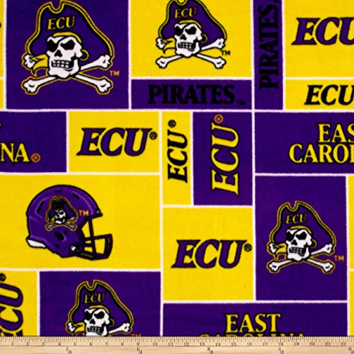 Sykel Enterprises Collegiate Fleece East Carolina University Purple Fabric by The Yard ()