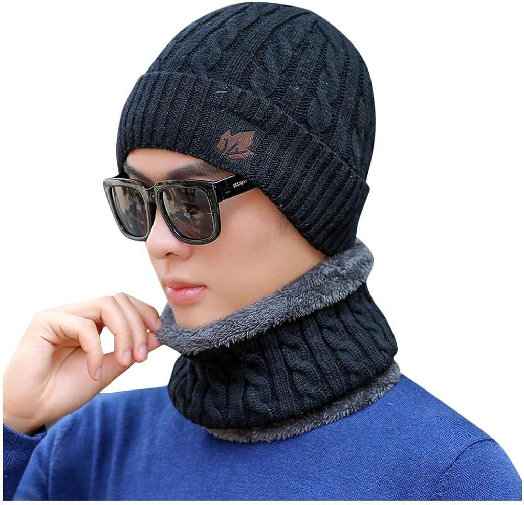 2-Pieces Winter Beanie Hat Scarf Set Mens Winter Hats Fleece Beanie Cap Skull Cap Hats for Mens