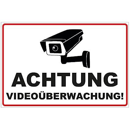 Cartel de señal de videovigilancia, de aluminio dibond, 300 x 200 mm y 3