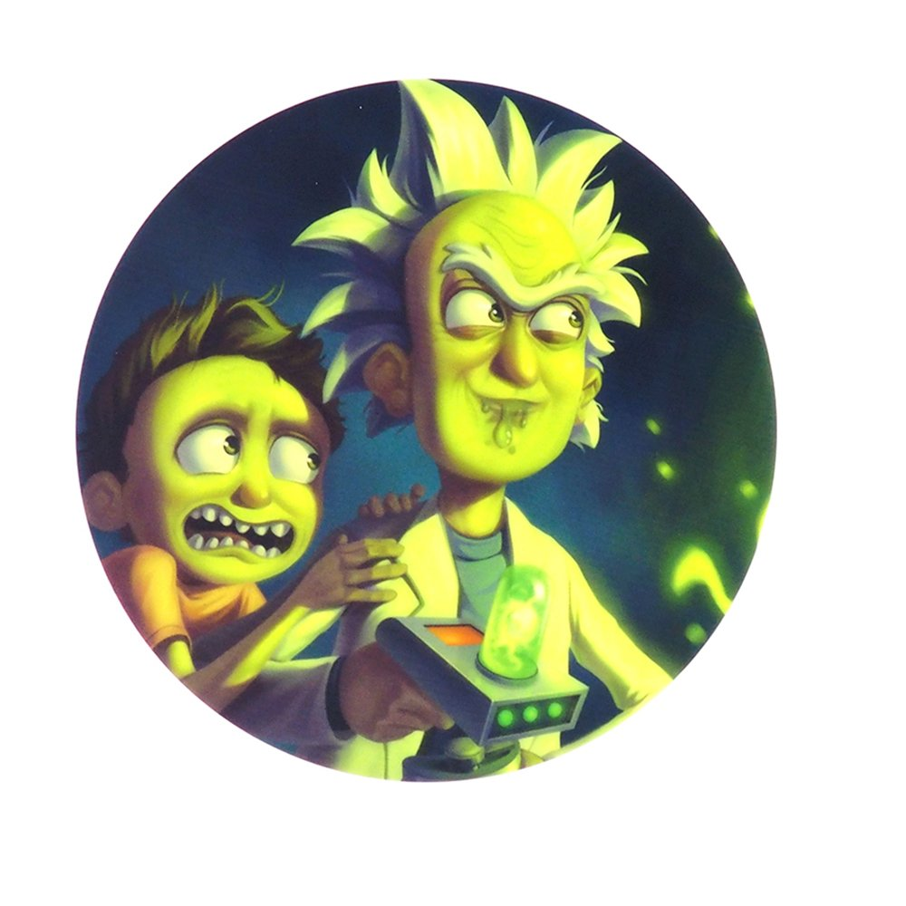 X-Value 8'' Non-Stick Rick and Morty Dab Mat Silicone Sheets Wax Pad Heat Resistant Round Mat Design 1