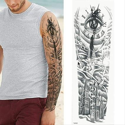 Tatuaje de brazo completo grande Lion Crown Rose Etiqueta engomada ...