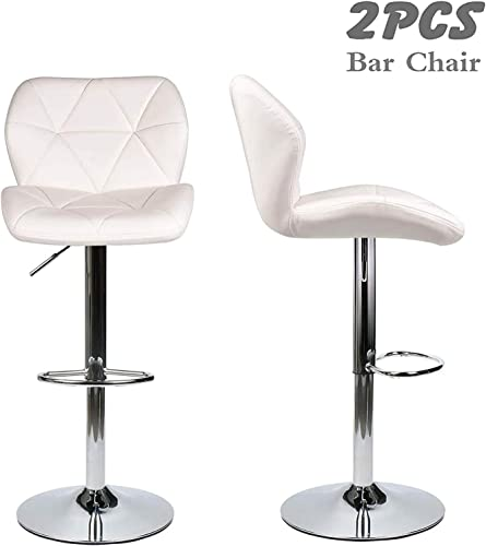 Fullwatt Modern Hydraulic Adjustable Bar Stools with Back Chrome Footrest Base Swivel Dining Chair Barstool Counter Bar Set of 2
