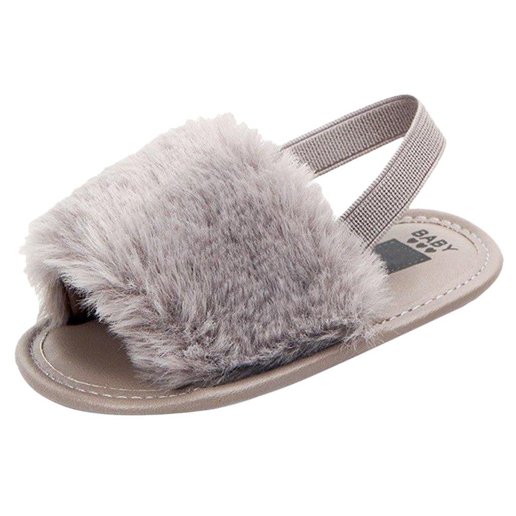 MagiDeal Toddler Baby Girl Kid Soft Sole Sandal Plush Slide Anti-Slip Pram Crib Shoes