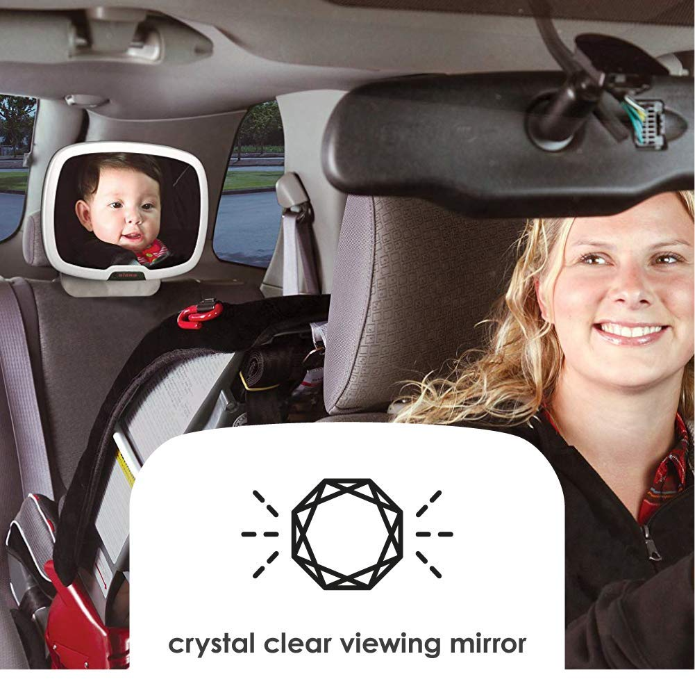 View Infant in Rear-Facing Car Seat Silver Diono Mirror Easy View Easy to Attach Modern Backseat Mirror Rotates 360 Degrees Universal Sleek Pivots for Perfect Viewing Angle
