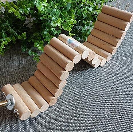 Hianiquaime® Perchoir Flexible en Bois Naturel Jouet Suspendu Escalier Echelle pour Hamster Oiseaux Perroquets Perruches etc