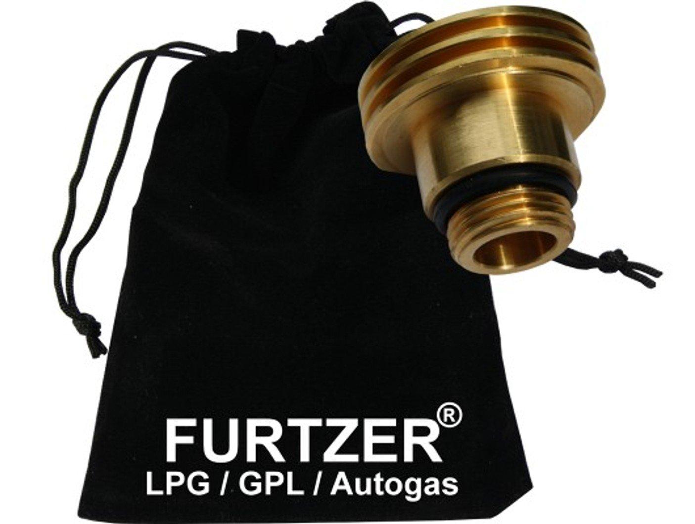 Furtzer® LPG GPL Autogas adaptateur de réservoir M22 (1 3/4 X W21.8) ACME version courte (environ 35mm.) avec sac en tissu Furtzer®