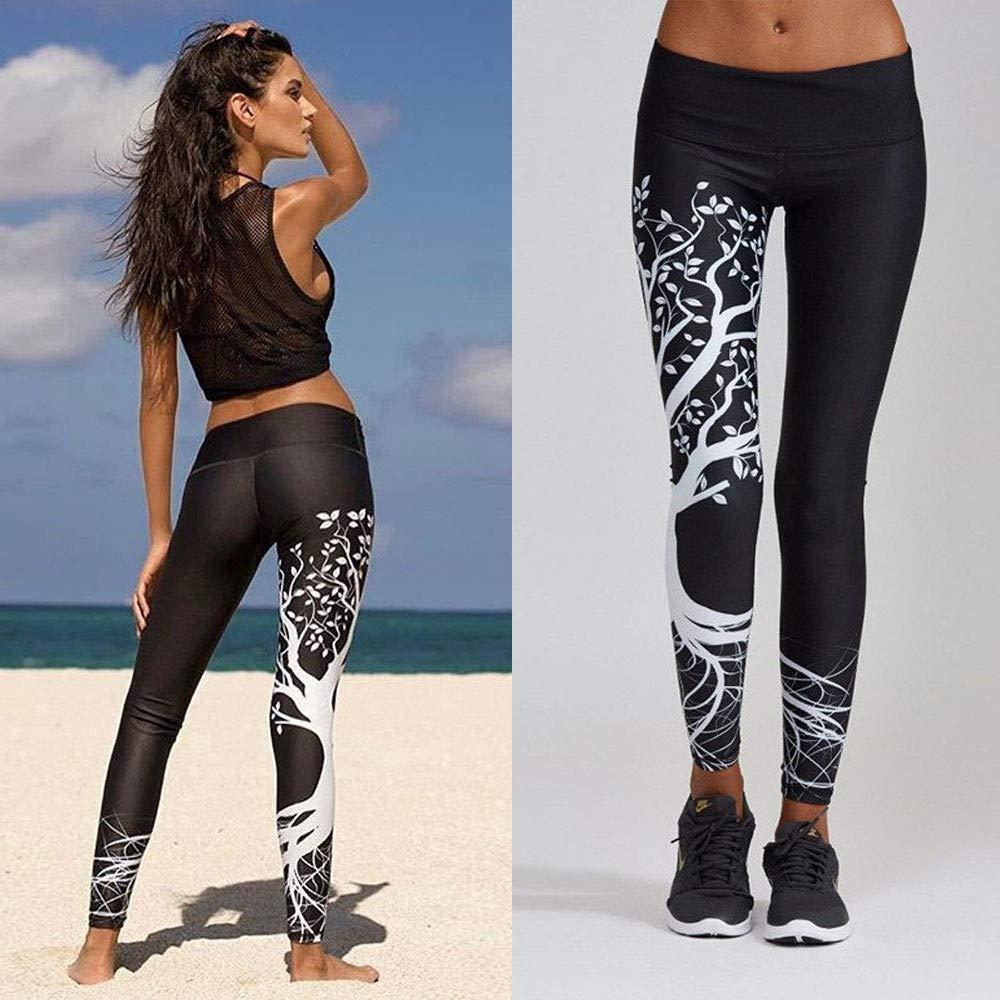 Vickyleb Yoga Pants Womens Tree Printed Sports Yoga Workout Gym Fitness Exercise Athletic Pants