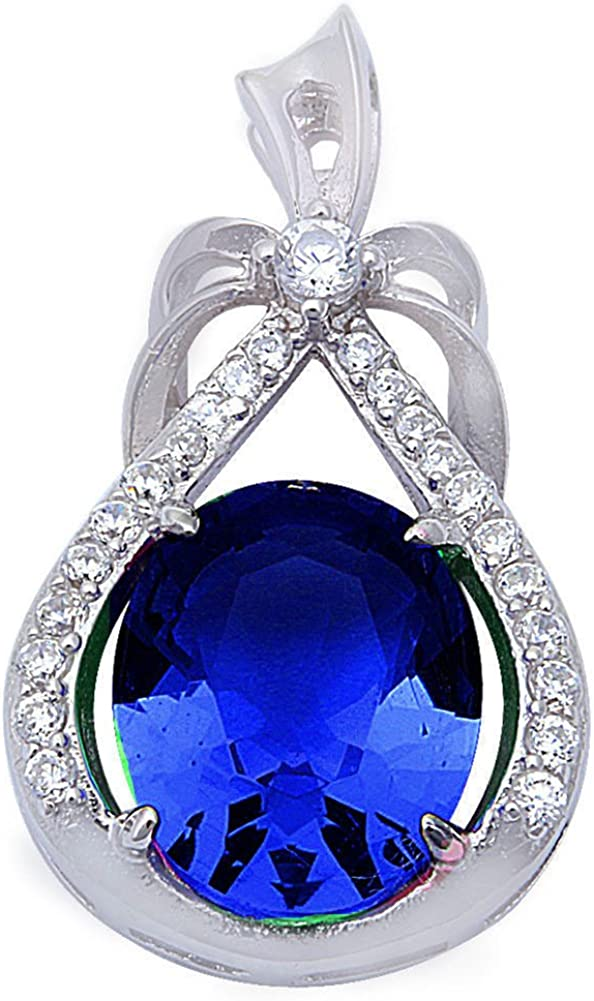 Blue Apple Co Solitaire Halo Wedding Pendant Charm Necklace Round Simulated Green Emerald CZ Round CZ 925 Sterling Silver