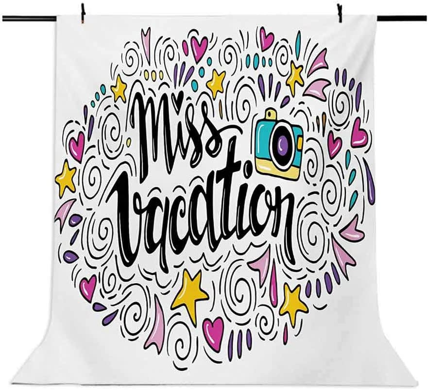 Quote 6.5x10 FT Photo Backdrops,Cheerful Composition Miss Vacation Words Travel Theme Doodle Ornament Retro Camera Background for Baby Birthday Party Wedding Vinyl Studio Props Photography Multicolor