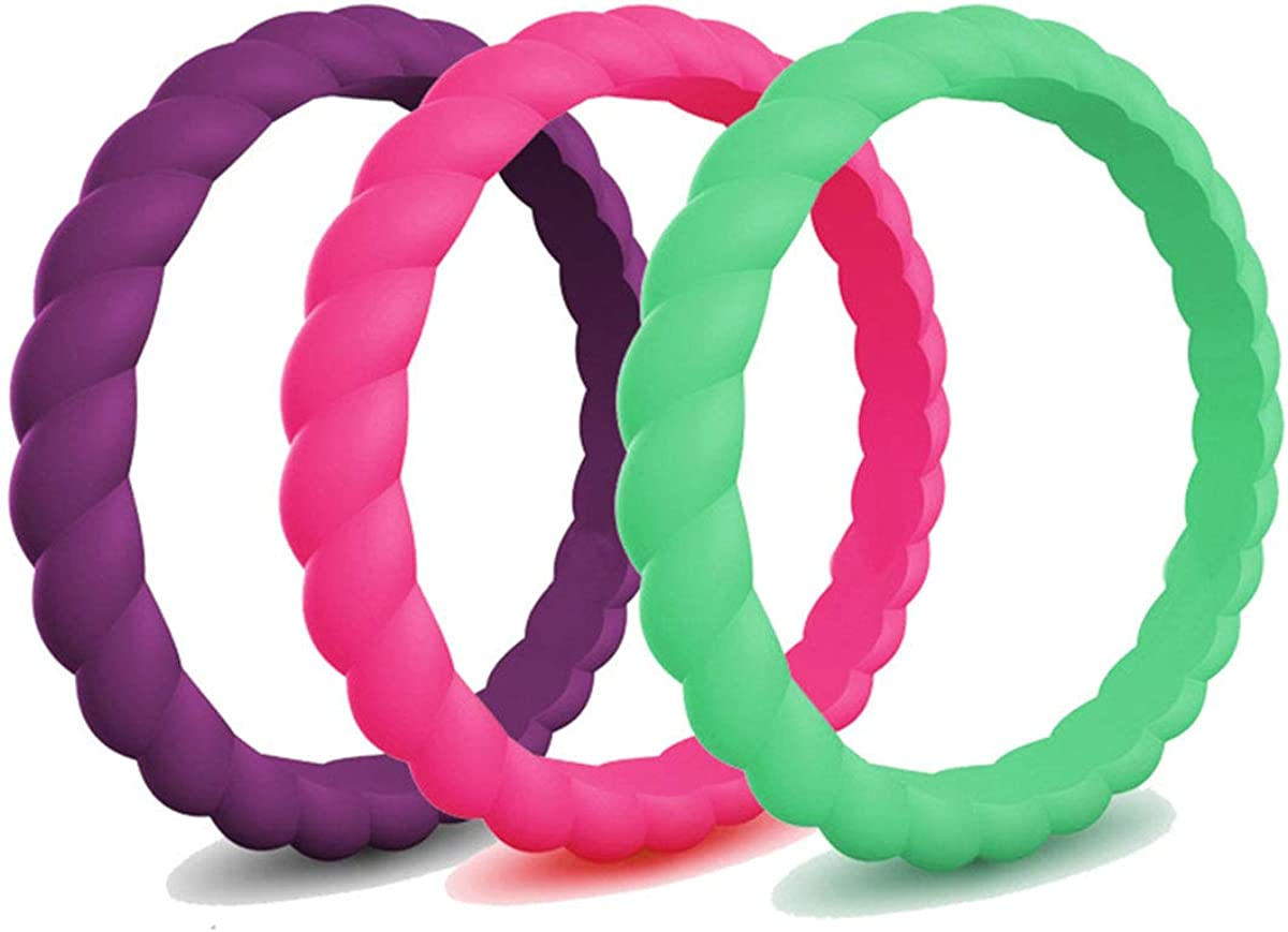 Kebaner 3 Pack / 5 Pack / 7 Pack / 10 Pack 3MM Wide Silicone Wedding Ring Sports Stackable Rubber Bands