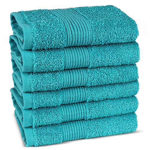TURKUOISE TURKISH TOWEL Premium Quality 100% Luxury Turkish Cotton Washcloths (Set of 6-Wide Border, Aqua) ()