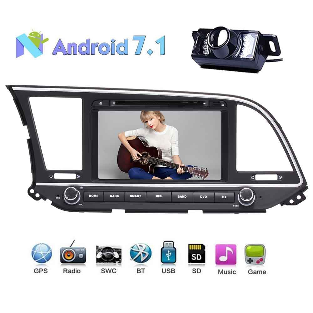 2Din Car In Dash Radio DVD Player for HYUNDAI ELANTRA 2016 Android 7.1 OS 1024*600 Touch Screen support WIFI 3G 4G BLUETOOTH OBD2 Mirror Link Steering Wheel Control with Rear View Camera B076P78DMB