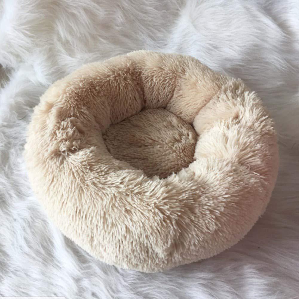 BELLENOV Cama de Mascotas Donut Cama de Perros Gatos Redonda C/ómodo Suave Felpa Corto Cama de Gatitos Cachorros para Dormir Gris Profundo 50cm 550g