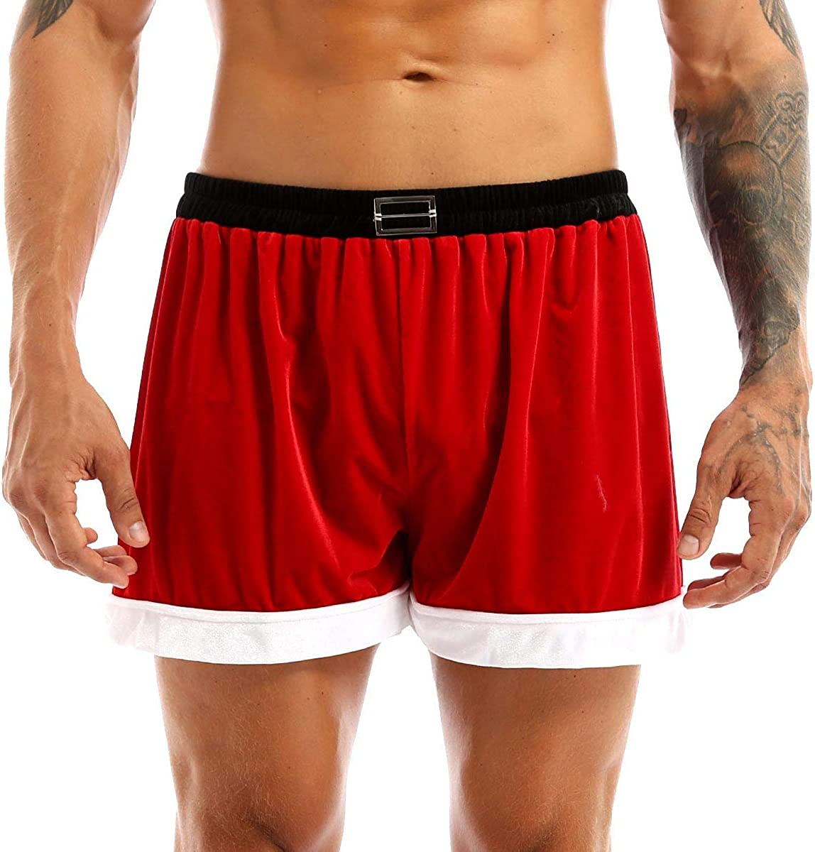 QinCiao Mens Shiny Christmas Santa Claus Underwear Belted Printed Cosplay Lingerie Briefs
