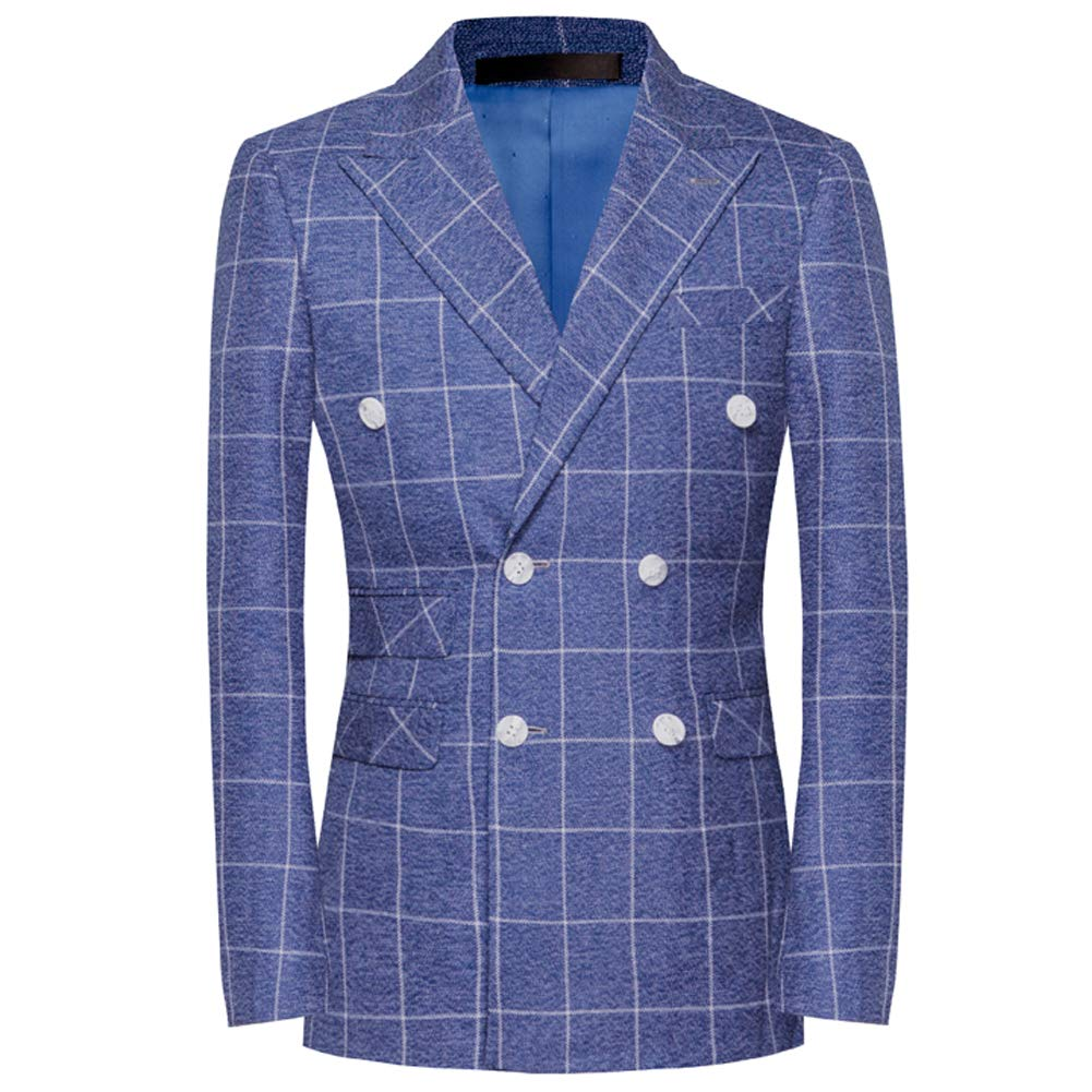 Mens Plaid 3 Piece Suits Double Breasted Retro Slim Dress