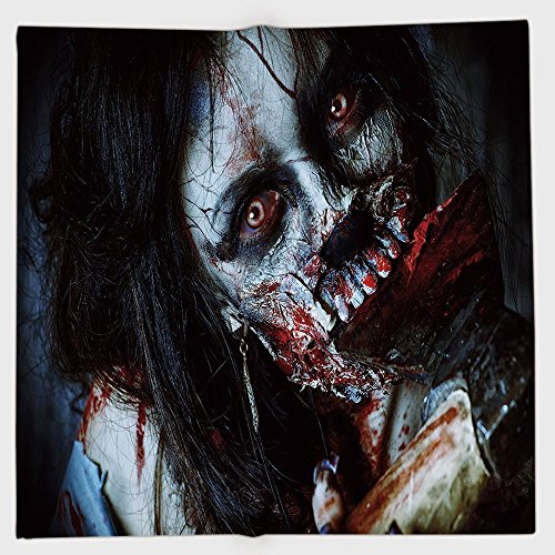 iPrint Polyester Bandana Headband Scarves Headwrap,Zombie Decor,Scary Dead Woman with Bloody Axe Evil Fantasy Gothic Mystery Halloween Picture,Multicolor,for Women -