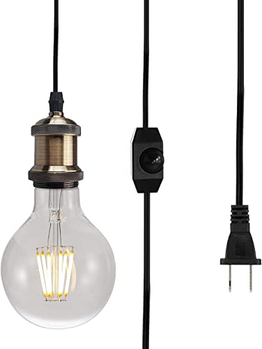 Dimmable Plug in Pendant Lighting E26 Vintage Edison Industrial Hanging Light Fixture with ON Off Switch 10ft Handing Cord, 2-Prong US AC Power Plugs, UL Listed Bulb Socket No Bulb Included Bronze